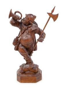 A Black Forest Carved Night Watchman Figure