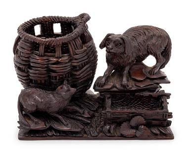 A Black Forest Carved Cigar Humidor