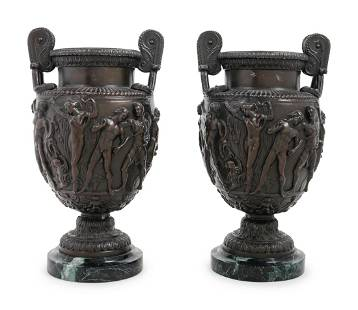 A Pair of Grand Tour Cast Metal and Marble Urns