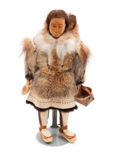 Inupiat Carved Mother and Child Doll