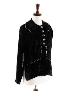 Navajo Velveteen Blouse, with Silver Concha Buttons