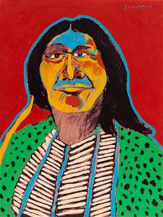 Fritz Scholder (Luiseno, 1937-2005) Indian with Blue