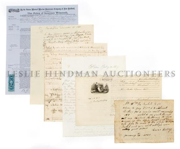 (NAUTICAL, WHALING) A group of 6 manuscript documents,