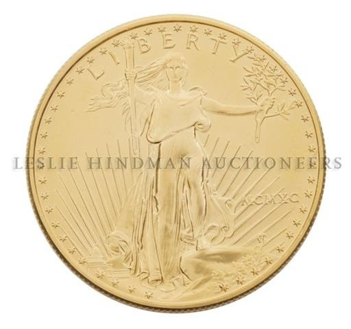 An American Eagle Uncirculated $50 Gold Coin,