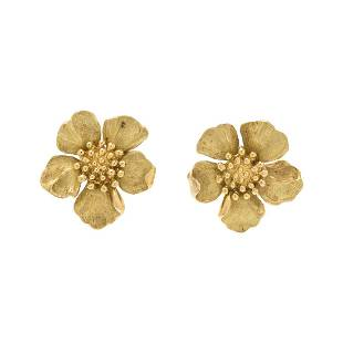 TIFFANY & CO., YELLOW GOLD DOGWOOD FLOWER EARCLIPS