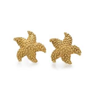 MCTEIGUE, TIFFANY & CO., YELLOW GOLD STARFISH EARRINGS