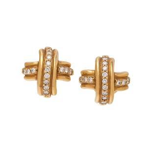 TIFFANY & CO., YELLOW GOLD AND DIAMOND EARCLIPS