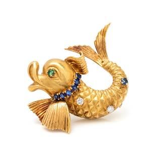 FRENCH, YELLOW GOLD, DIAMOND, SAPPHIRE AND EMERALD FISH