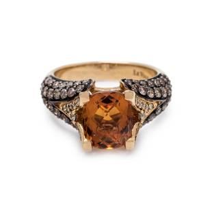 LEVIAN, CITRINE, DIAMOND AND COLORED DIAMOND RING
