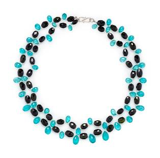 APATITE AND TOURMALINE BEAD NECKLACE