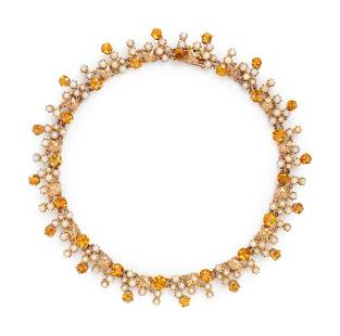YELLOW GOLD, CITRINE AND CULTURED PEARL NECKLACE