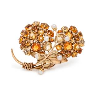 YELLOW GOLD, CITRINE AND CULTURED PEARL BROOCH