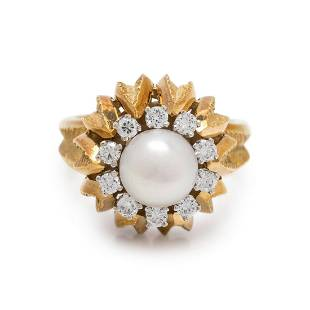 YELLOW GOLD, CULTURED PEARL AND DIAMOND RING