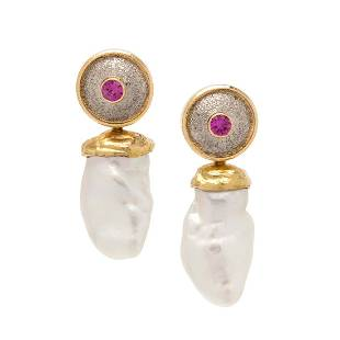 RICHARD KIMBALL, PINK SAPPHIRE AND CULTURED PEARL