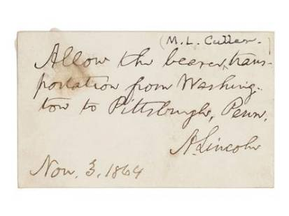 LINCOLN, Abraham (1809-1865). Autograph note signed