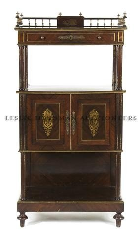 A Neoclassical Mahogany and Brass Three-Tier Etagere, H