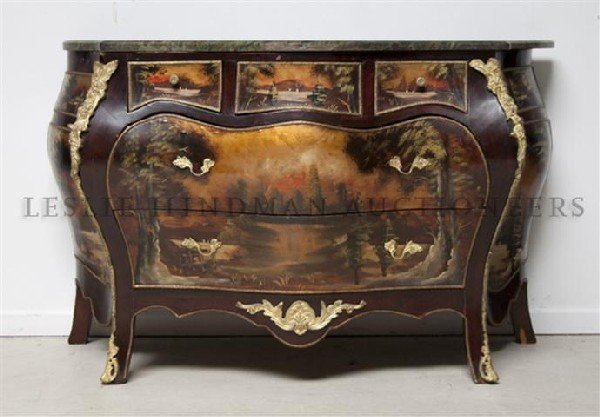 A Vernis Martin Bombe Chest, Height 32 1/2 x width 49 x
