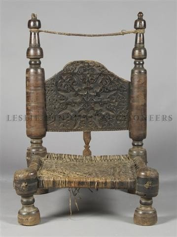 An Afghani Prayer Chair, Height 31 1/2 inches.