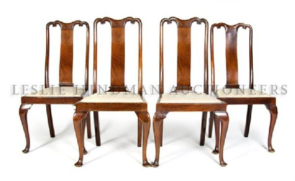 A Set of Four Queen Anne Style Chairs, Height 42 inches