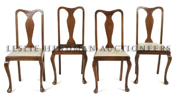 A Set of Four Queen Anne Style Chairs, Height 38 3/4 in