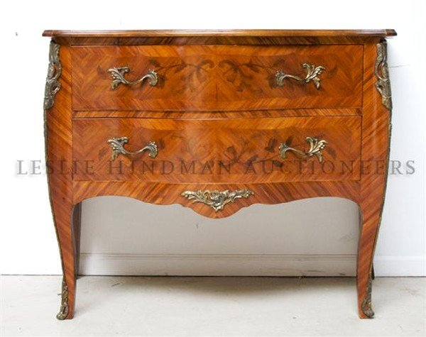 A Louis XVI Style Marquetry Commode, Height 33 1/2 x wi