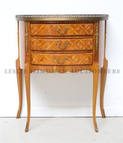 A Louis XVI Style Parquetry Commode, Height 28 3/4 inch