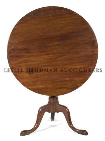 A Queen Anne Style Walnut Tilt-Top Table, Height 28 x d