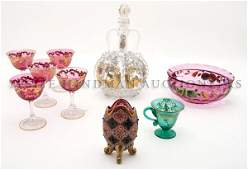 A Collection of Victorian Enameled Glass Articles Heig