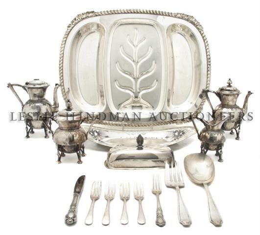 A Silverplate Four Piece Tea and Coffee Service, Length