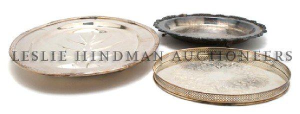 A Collection of Six Silverplate Trays, Width of widest