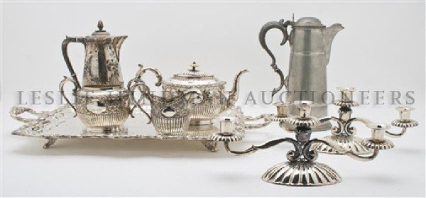 An English Silverplate Tea Service, Width of tray 25 in