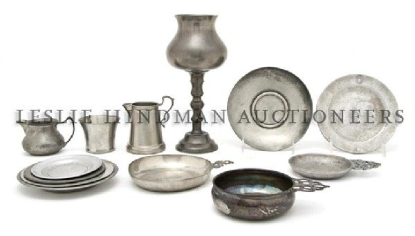 A Collection of Pewter Articles, Diameter of first 8 3/
