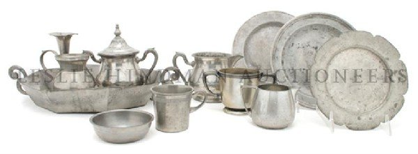 A Collection of Pewter Articles, Width of widest 14 inc