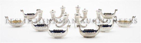 An Assembled Set of Eight Scandinavian Silver Salts, Wi