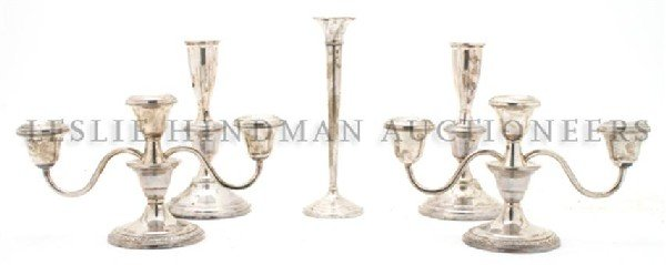 A Pair of American Sterling Silver Three-Light Candelab