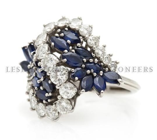 A Handmade Platinum, Diamond and Sapphire Ring, 6.70 dw
