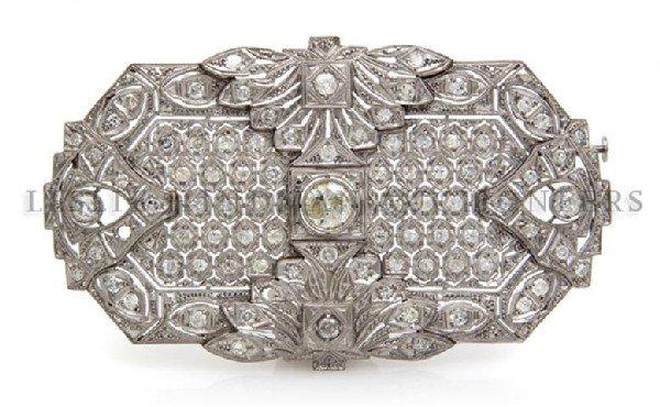 An Art Deco Platinum and Diamond Brooch, 18.90 dwts.