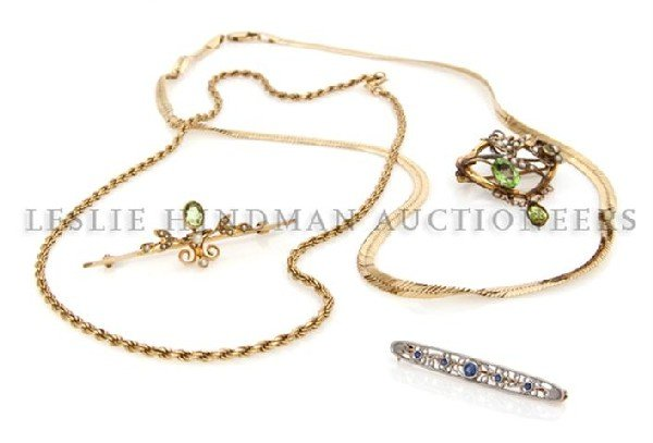 A Group of 14 Karat Gold Jewelry, 19.00 dwts.