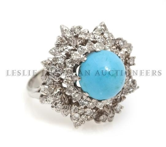 A White Gold, Turquoise and Diamond Ring, 6.35 dwts.