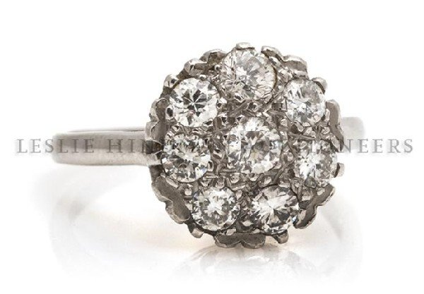A Platinum and Diamond Cluster Ring, 3.25 dwts.