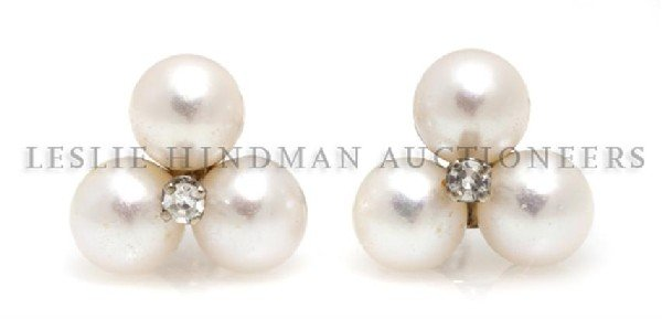 A Pair of 14 Karat White Gold, Cultured Pearl and Diamo