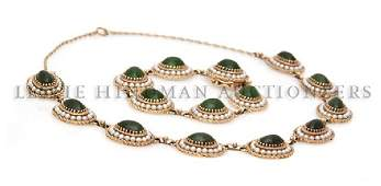 A Group of 14 Karat Yellow Gold Jade and Cultured Pear