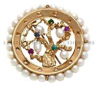 A 14 Karat Yellow Gold Cultured Pearl and Multi Color