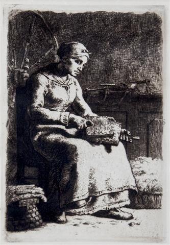 7: Jean Francois Millet, (French, 1814-1875), La Cardeu