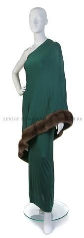 1: A Bill Blass Green Crepe Evening Gown,