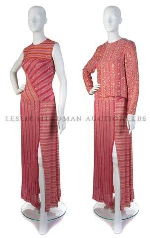 2: A Bill Blass Pink Silk Chiffon Sequin and Beaded Eve