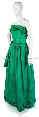 4: A Bill Blass Strapless Green Evening Gown,