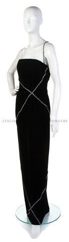 6: A Bill Blass Black Velvet and Rhinestone Trim Strapl