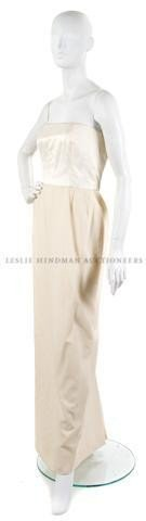 9: A Bill Blass Cream Wool and Satin Strapless Evening