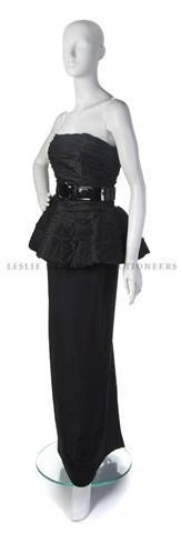 10: A Bill Blass Black Silk Evening Gown,